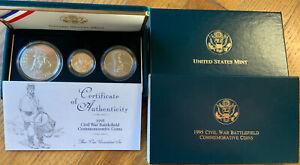1995 CIVIL WAR BATTLEFIELD 3 COIN SET Gold/Silver/Clad UNCIRCULATED