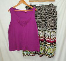 Woman Within JMS Womens Plus Size 2X 3X Outfit 2 Pc Set Tank Top Skirt Purple