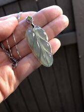 Certified Grade A Jadeite - hi translucent, almost glassy! Leaf Jadeite Pendant