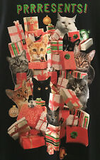 Prrresents Cat Holiday T-Shirt - Men's XL Black - NEW cond.