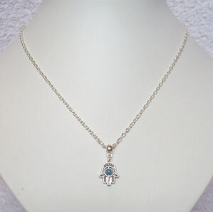 """Hamsa Hand Blue Evil Eye Protection Pendant 18"""" Chain Necklace in Gift Bag"""