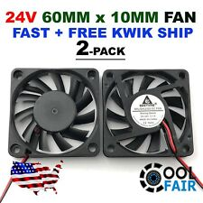 60mm 10mm 24V Cooling Case Fan 6010 PC Computer CPU 6cm 60x60x10mm 2-Pin 2-Pack