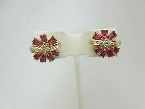 Vintage 18k Yellow Gold Ruby and Diamond Earrings 2.30 ct TW