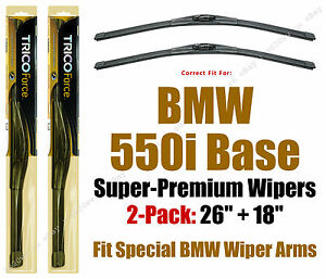 Wipers 2-Pack Hi-Performance - fit 2011+ BMW 550i Base - 25260/180