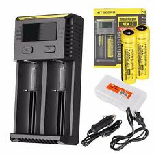 Nitecore i2 2016 Intellicharger Charger w/ 2x3400 18650s, Car Adapter, Organizer