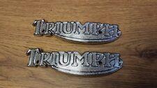 TRIUMPH CHROME PAIR OF T140 BONNEVILLE T160 TRIDENT TANK BADGES - 83-5361