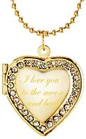 Latigerf I love you to the moon and back Heart Locket Necklace Engraved Pendant