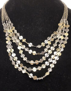 CHICO'S Two-Tone Multi Strand Statement NECKLACE Silver & Gold Textured Discs