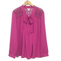 Adiva Size XL Fuschia Pink Blouse Pullover Semi Sheer Top Pussy Bow Crochet Lace