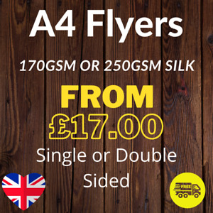 A4 Flyers Leaflets Printed Full Colour 170gsm or 250gsm Silk - A4 Flyer Printing