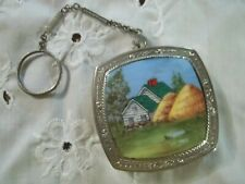 Hand-painted (signed) Enameled Powder Compact with chain and finger ring.