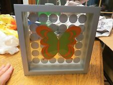 Vintage Estate Fun POP ART Butterfly Polka Dots Shadow Box Picture Glass Grey