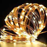 20/30/50 Micro LED Strings Battery Operated Silver Wire Fairy Lights Xmas Party