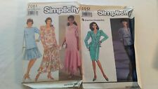 Vintage Uncut Patterns Simplicity 2 Peice Dress Size 18-24 Lot of 2  From 1990