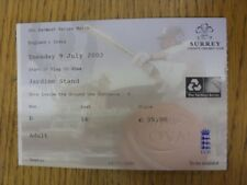 09/07/2002 Ticket: Cricket - England v India [At The Oval]. Thanks for viewing t