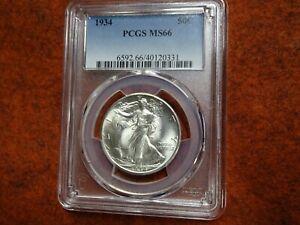 1934 Walking Liberty Half Dollar,PCGS MS66,Blast White,Gem BU,Super Minty,WOW