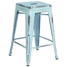"""Tolix Style Industrial Metal 24"""" Counter Stool Distressed Antique Dream Blue"""