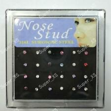 24pcs 316L Surgical Steel Crystal Nose Studs wholesale jewelry free shipping