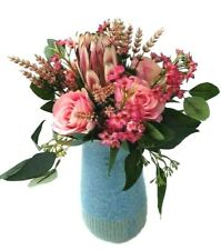 Flower Arrangement - Pink Silk Roses with Native Flowers in Blue Vase