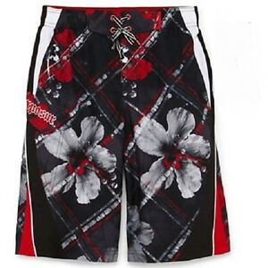 ZeroXposur Board Shorts Swim Trunks ~ Size LRG (14/16) ~ Black & Red ~ NWT