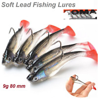 5Pcs 3D Eye Life-like Lead Fishing Lure Bait Soft Baits Lures Tackle With Sharp