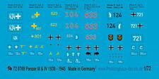 Peddinghaus 1/72 0769 Panzer III e Panzer IV decals 1939-45