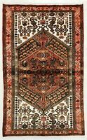 "4' x 6'6"" Hand Knotted Rust Tribal Wool Nomadic Hamedan Oriental Area Rug"