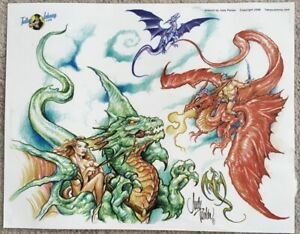 "Tattoo Studio Shop Flash Single By Judy Parker Dragons Fighting 11""X14"" Print"