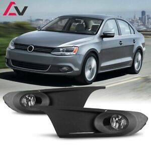 11-14 For VW Jetta Clear Lens Pair OE Fog Light Lamp+Wiring+Switch Kit DOT