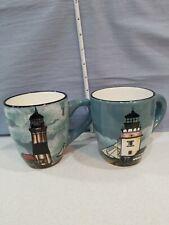 Sakura,  Set of 2 David Carter Brown  (By The Sea) Lighthouse Coffee Mugs