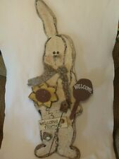 RUSTIC PRIMITIVE WOOD WOODEN BUNNY RABBIT WELCOME FRIENDS WALL PLAQUE SIGN