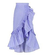 Ruffle Wrap Asymmetric Maxi Skirt Pin Stripe Concertina Pleats A-line Flare