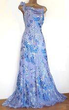 MONSOON ✩ STUNNING ANAIS BLOSSOM BLUE SILK DEVORE MAXI EVENING DRESS ✩ UK 14