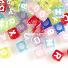 60pcs Acrylic Cube Alphabet Letter Beads Jewelry Findings 6mm Multi-Color AR0374