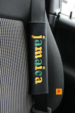 Jamaica Seat Belt Shoulder Cover Pads x 2 with 1 mug/Car Cd dangler/Keyring Fob