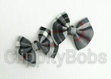 LADIES GIRLS HANDMADE RED GREY & BLACK TARTAN CHECK SOFT FABRIC SHOE CLIPS BOW