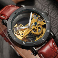 Tourbillon Black Case Men's Watches Automatic Mechanical Leather Band Skeleton