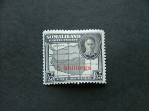 Somaliland Protectorate KGVI 1951 5/- on 5r black SG135 MM