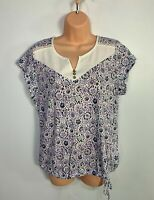BNWT WOMENS MANTARAY SIZE UK 14 WHITE PURPLE FLOWER CASUAL SUMMER T-SHIRT TOP