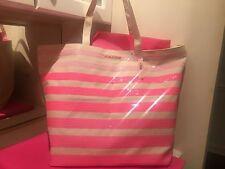 New~Victoria's Secret VS Khaki Canvas Ombré Pink Sequin Stripe Bling Tote Bag