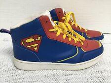 DC COMICS HI TOP SUPERMAN TRAINERS Blue Red Yellow EU39.5/UK6