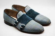 Mens Hand Stitched Shoes Two Tone Fabric & Velvet Slip On Double Monk Formal NEW