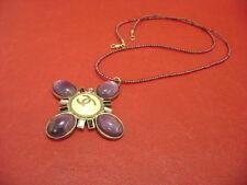 Chanel CC logos purple stone w/ Baguette crystal pendant necklace