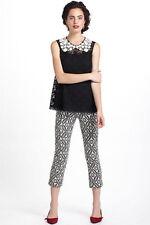 NIB Anthropologie Black Lace Crochet Collar Dress Blouse Top 0 2 XS