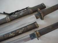 Collectable 2 Japanese Samurai Katana Fishes Sword &Wakizashi Brass SCABBARD