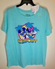 NWT Disney Love Tribe Womens Teal T-shirt Size L Mickey Minnie Chill Out