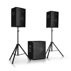Aktiv 2.1 PA Anlage Lautsprecher Set 1600W Subwoofer System Bluetooth Boxen