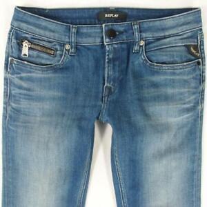 Ladies Womens Replay WX649 ALANIES Stretch Skinny Blue Jeans W28 L32 UK Size 8