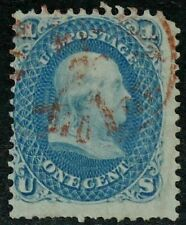 US 1861 #63 - 1c Blue Franklin Red Cancel Used