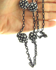 J Crew Black Crystal Glass Bead Interval Necklace Long Chain .75 X 34""